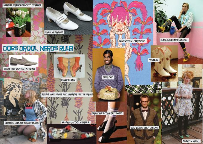 mood board for street fashion footwear brand
