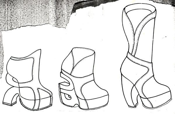 Image of a footwear sketch for Shelleys