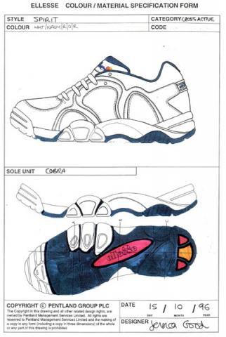 Scan of a sports shoe spec sheet