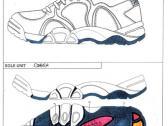 Scan of a sports shoe spec sheet